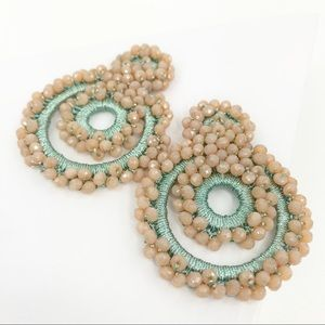 CLOSET REHAB Jewelry - Boho Beaded Drop Earrings in Light Pink and Teal